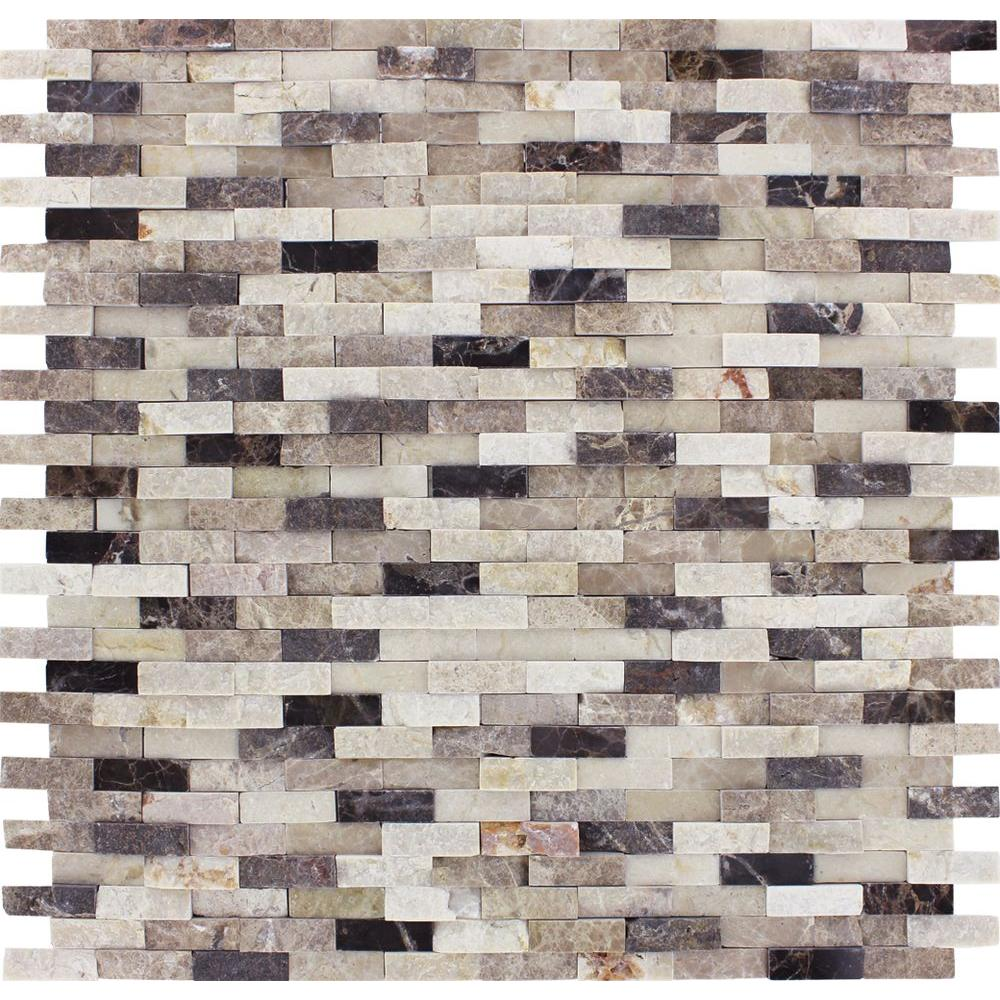 MSI Emperador Blend Split Face 12 in. x 12 in. x 10 mm Marble Mesh-Mounted Mosaic Wall Tile (10 sq. ft. / case)