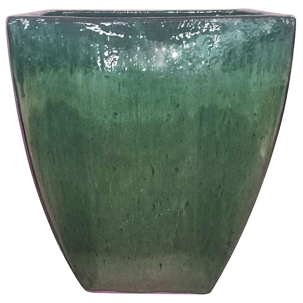 Green Ceramic Bays Square Pot