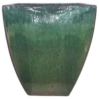 20 in. Green Ceramic Bayshore Square Pot