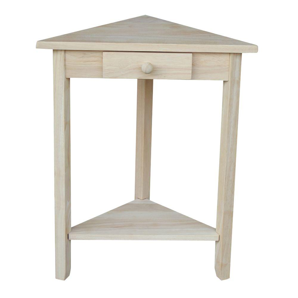Triangle Corner Unfinished Wood Side End Table Home Furniture Storage  Nightstand
