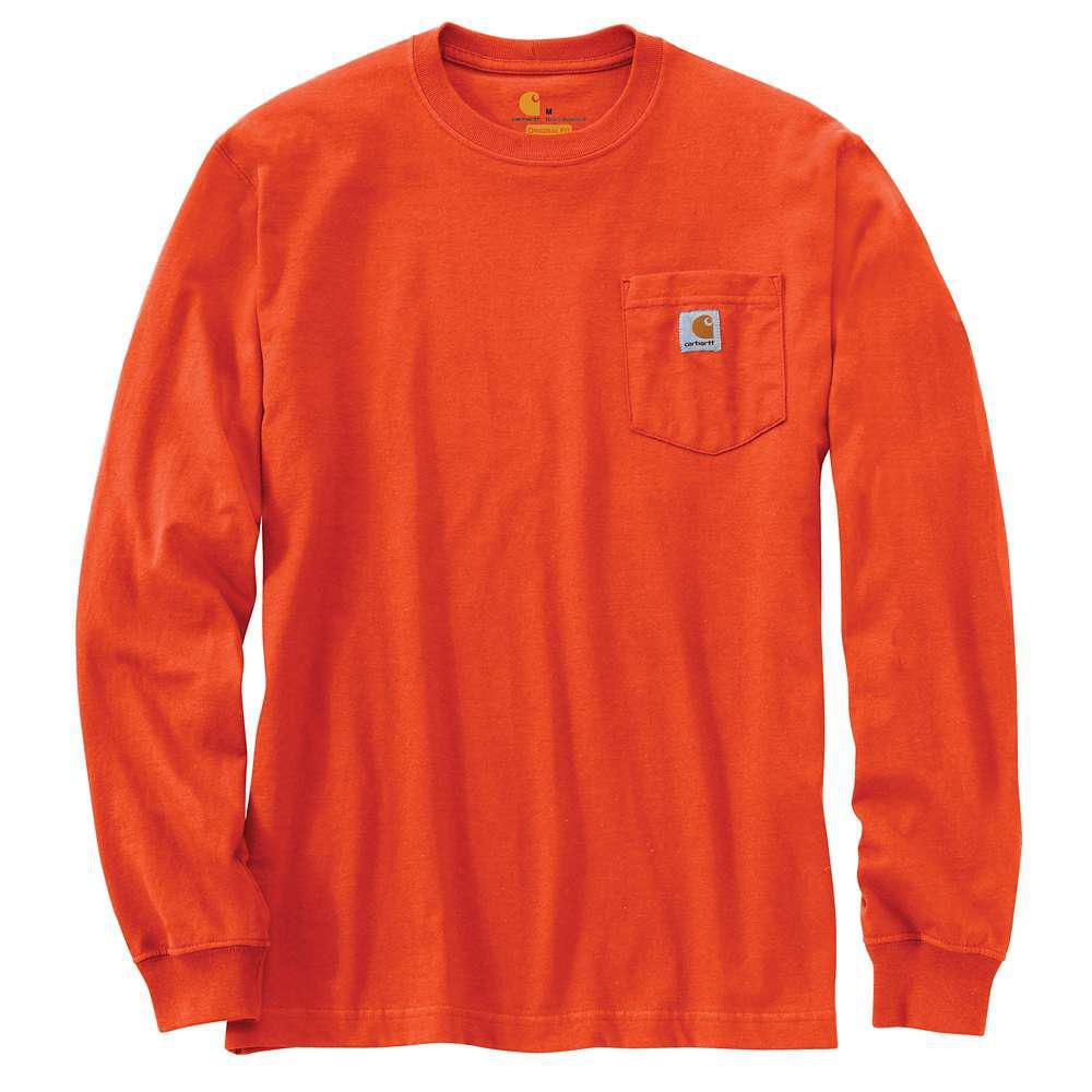 Men's Regular Medium Orange Cotton Long-Sleeve T-Shirt