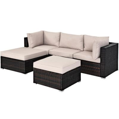 Island 5-Piece Wicker Patio Conversation Set with Beige Cushions