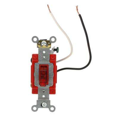 20 Amp Industrial Grade Heavy Duty 3-Way Pilot Light Toggle Switch, Red