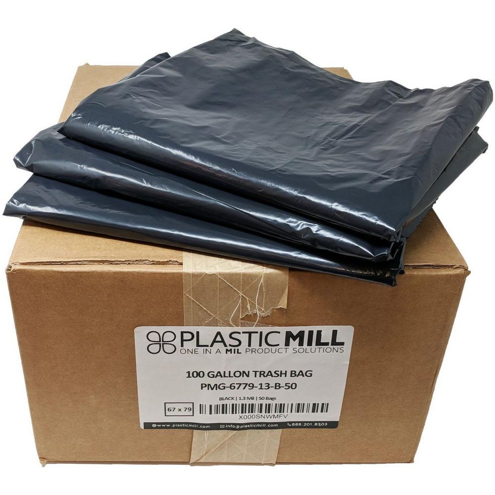 67 in. W x 79 in. H. 100 Gal. 1.3 mil Black Trash Bags (50-Count)