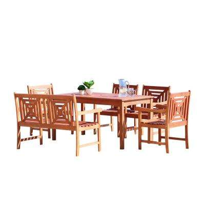 Malibu 6-Piece Wood Rectangle Outdoor Dining Set