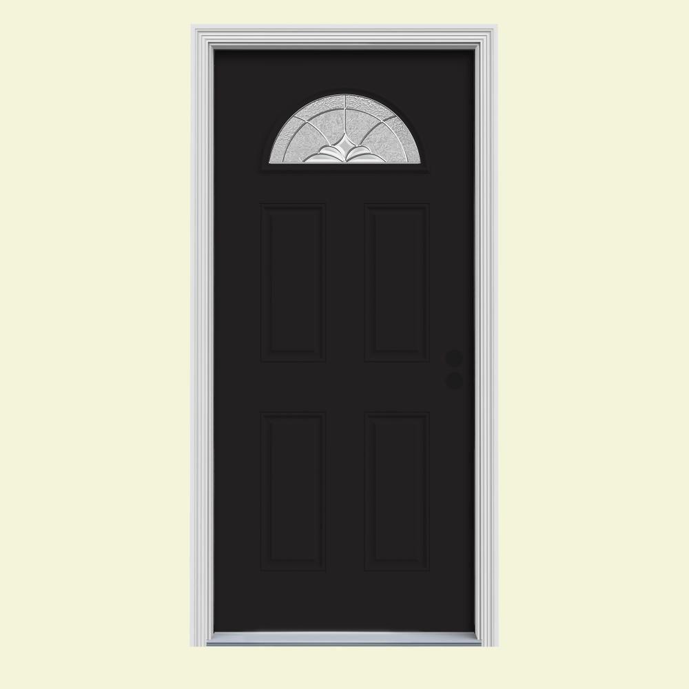 32 in. x 80 in. Fan Lite Langford Black w/White Interior