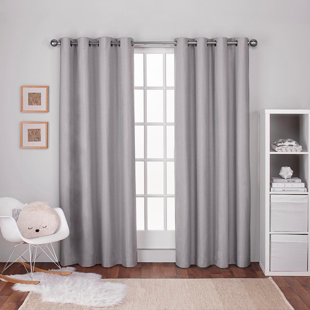 Textured Linen Dove Grey Thermal Grommet Top Window Curtain