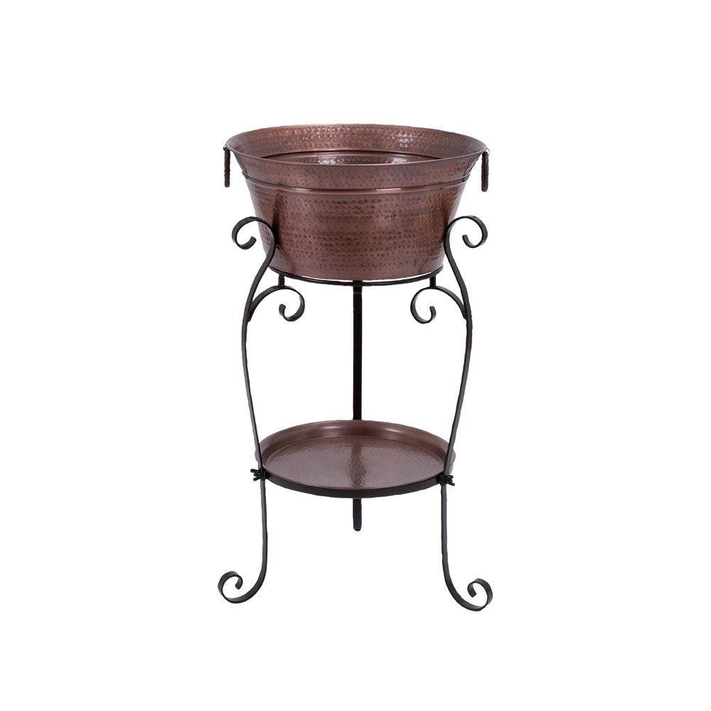 Copper Brown Aluminum Bucket Wine Cooler with Bottom Tray and Black