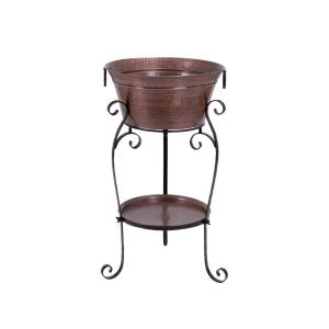 Copper Brown Aluminum Bucket Wine Cooler with Bottom Tray and Black Stand