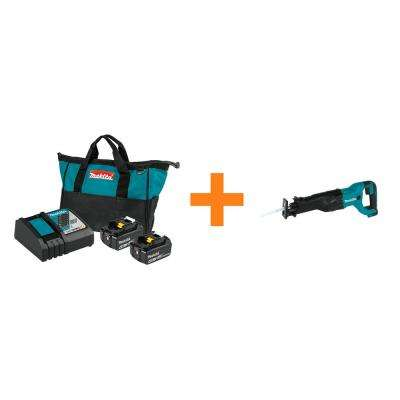 18-Volt LXT Lithium-Ion 4.0 Ah Battery and Rapid Optimum Charger Starter Pack with Bonus 18-Volt LXT Reciprocating Saw