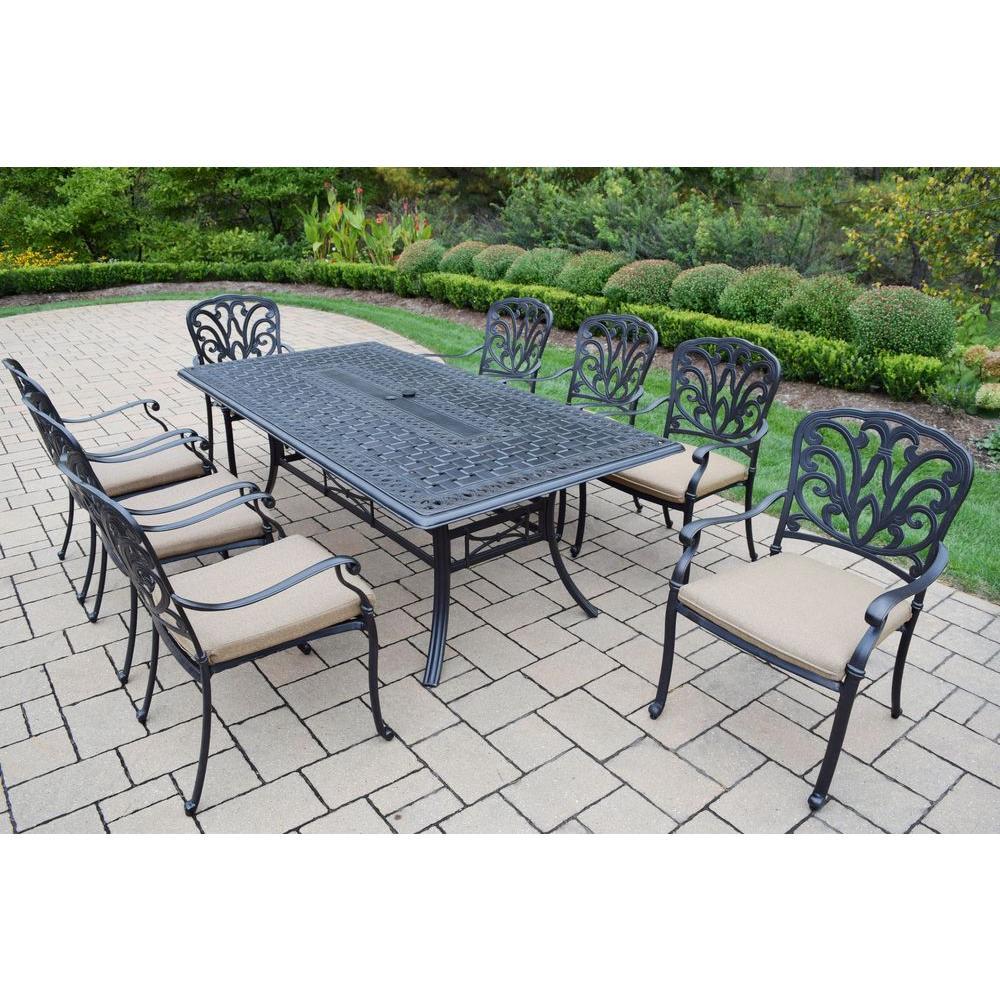 Cast Aluminum 9-Piece Rectangular Patio Dining Set with SpunPoly Beige Cushions