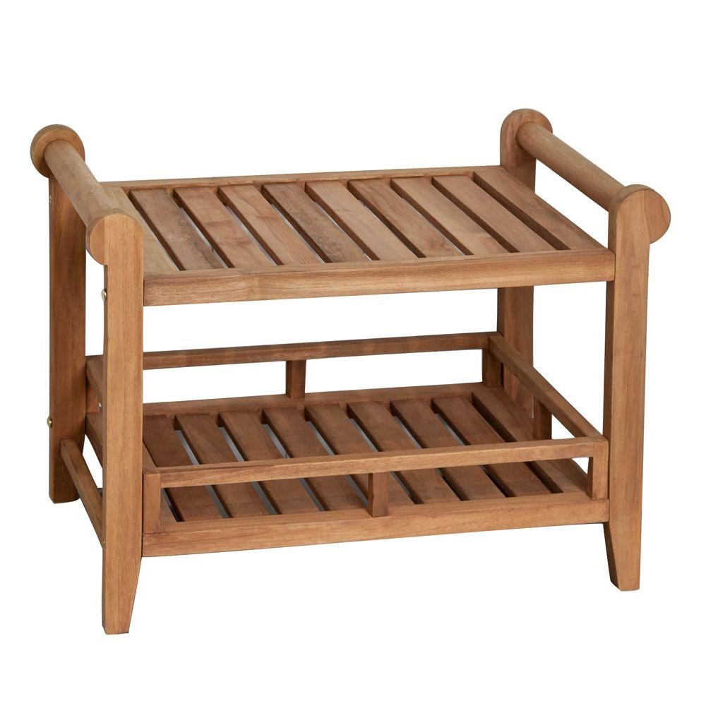 null 27 in. Teak Rectangular Slatted Shower Seat with Handles