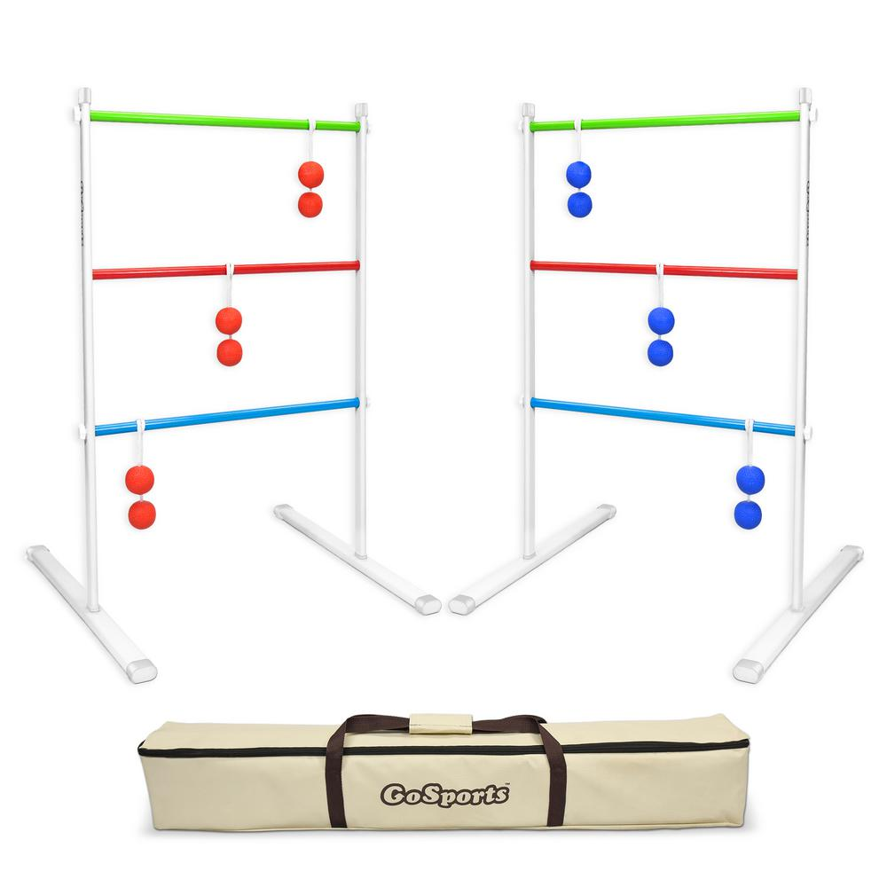Premium Foldable Metal Ladder Toss Game Set with 6 Rubber Bolos