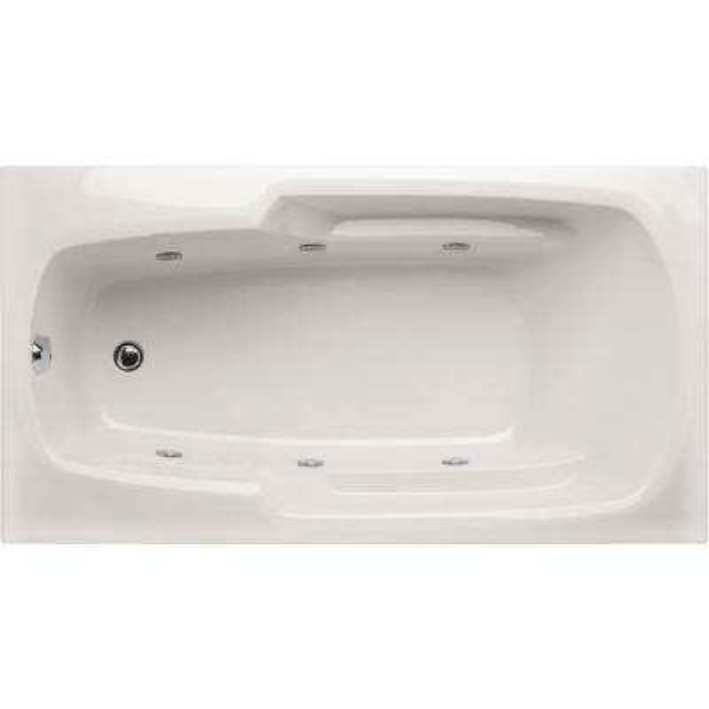 Napa 54 in. Acrylic Rectangular Drop-in Reversible Drain Whirlpool Tub in White
