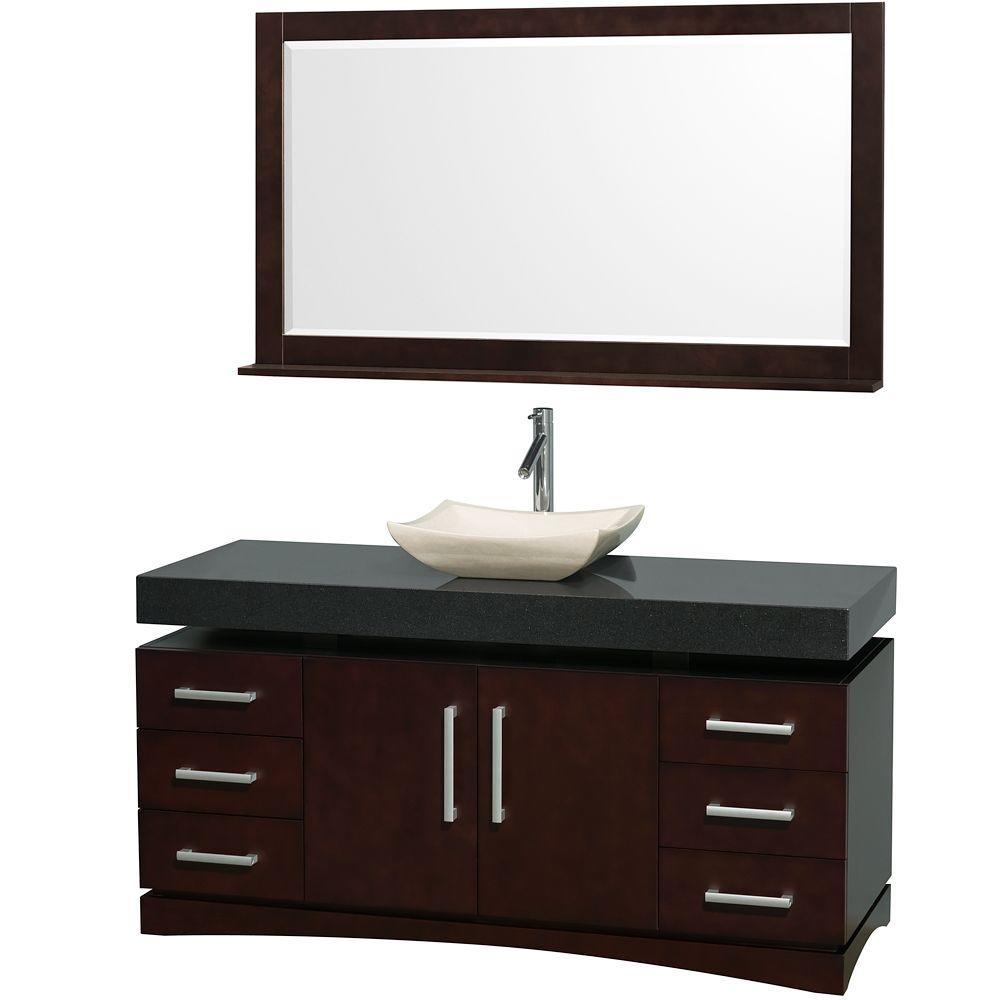 null Monterey 60 in. Vanity in Espresso with Granite Vanity Top in Black and Ivory Marble Sink-DISCONTINUED