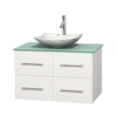 Centra 36 in. Vanity in White with Glass Vanity Top in Green and Carrara Sink
