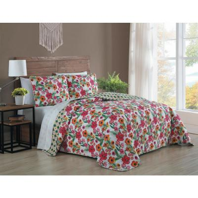 Poppy 3-Piece Pink/Yellow King Quilt Set