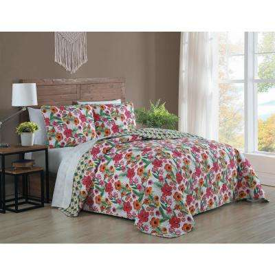 Poppy 3-Piece Pink/Yellow Queen Quilt Set