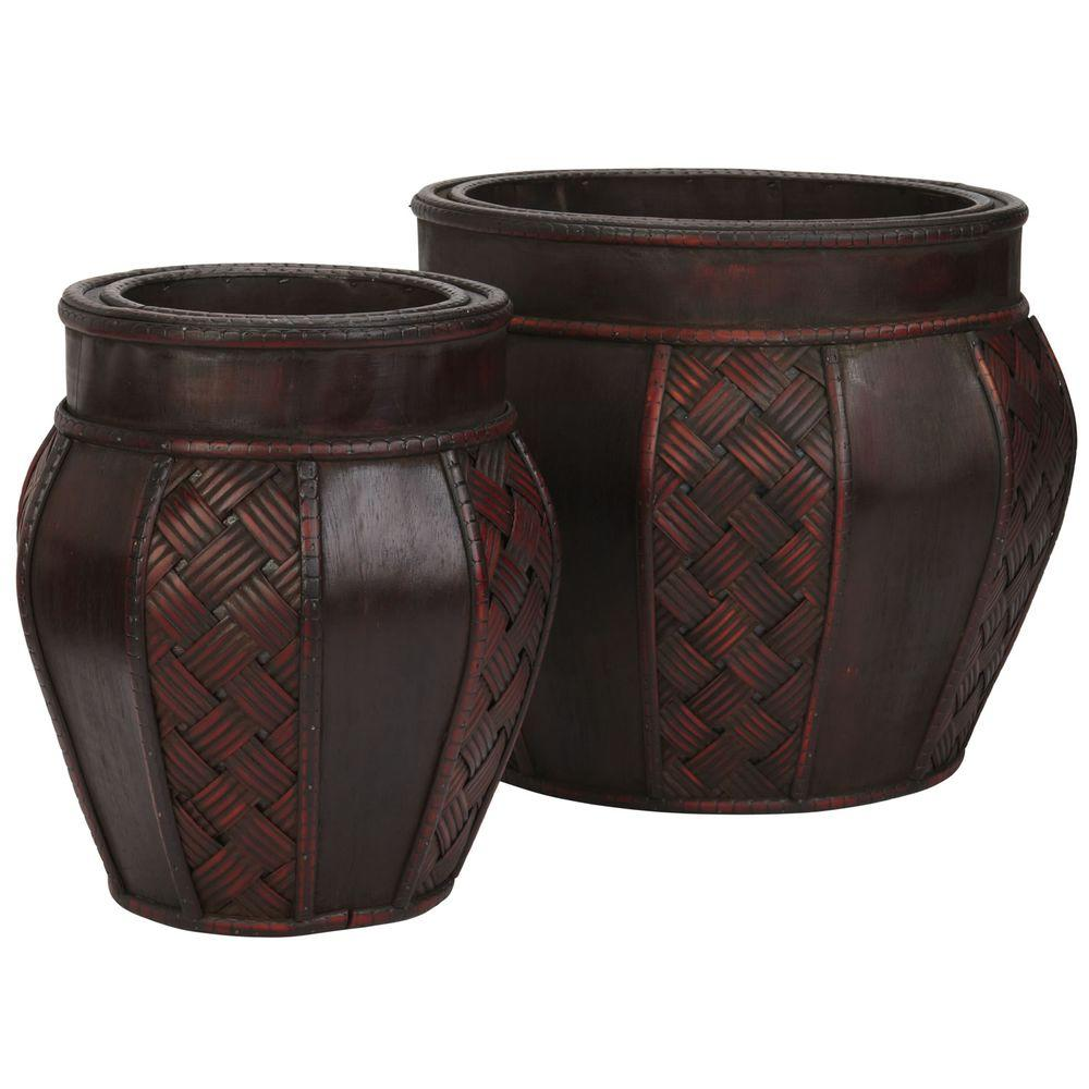 Nearly Natural 11.5 in. H Burgundy Wood and Weave Panel Decorative Planters (Set of 2)