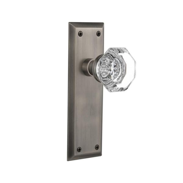 Nostalgic Warehouse New York Plate 2 3 8 In Backset Antique Pewter Privacy Bed Bath Waldorf Door Knob 733125 The Home Depot