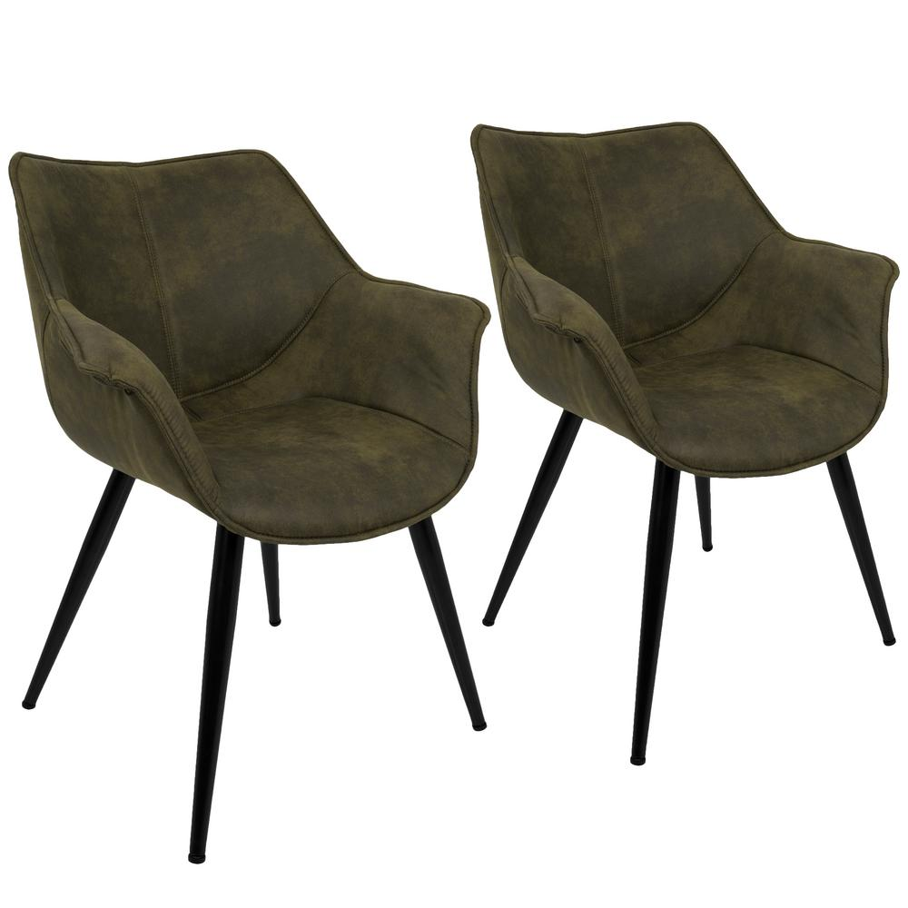 Lumisource Wrangler Rust Accent Chair Set Of 2 Ch Wrng: Lumisource Wrangler Green Accent Chair (Set Of 2)-CH-WRNG