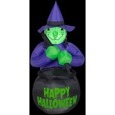 3 ft. W x 4 ft. H Inflatable Witch with Caldron Happy Halloween