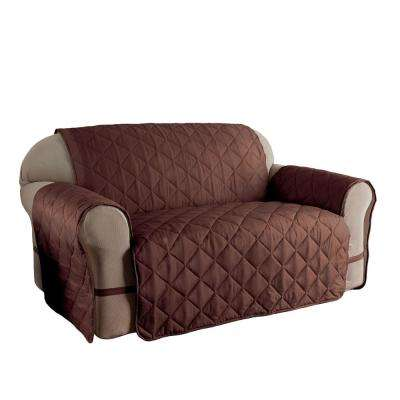 Chocolate Microfiber Solid Ultimate Loveseat Protector