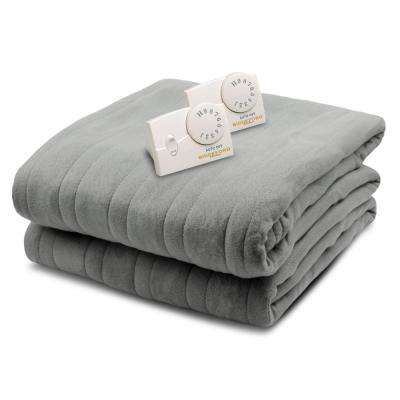 1004 Series Comfort Knit Heated 100 in. x 90 in. Gray King Size Blanket