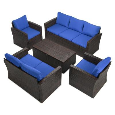 5-Piece Brown Wicker Outdoor Patio Conversation Set with Blue Cushions