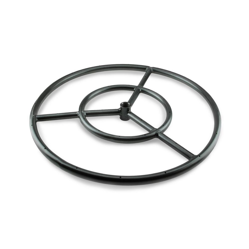 Fire Pit Essentials 12 in. Black Steel Fire Ring Burner with Connector Kit - Fire Pit Essentials 12 In. Black Steel Fire Ring Burner With