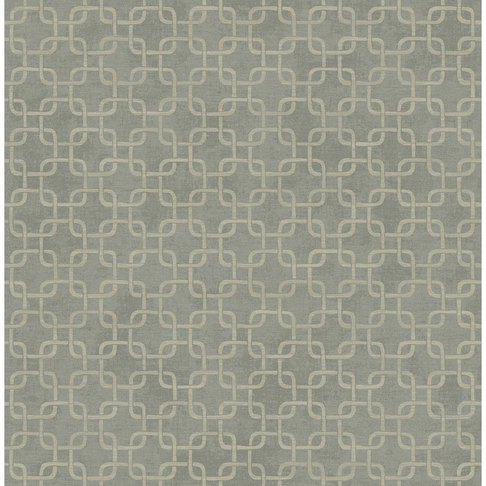 23820812d958 Seabrook Designs Fonzie Metallic Silver and Gray Link Wallpaper-RL60707 -  The Home Depot