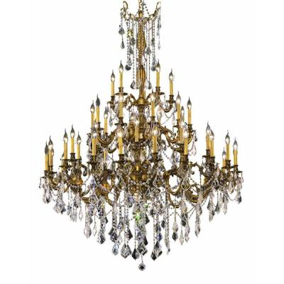 45-Light French Gold Chandelier with Clear Crystal