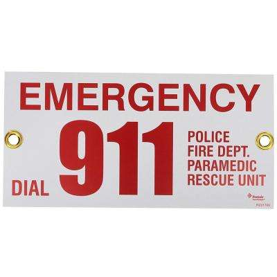12 in. x 6 in. Rainbow Emergency Phone #911 Sign