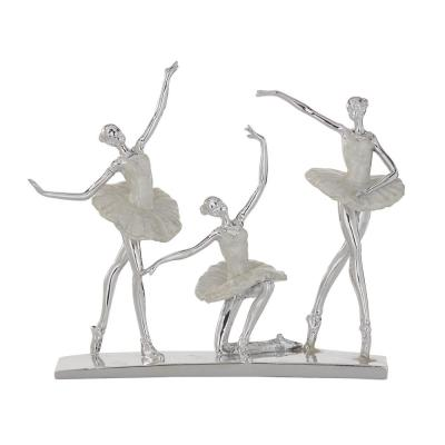 Litton Lane Silver and White Finished Polystone Ballet Dancers Sculpture, 14 in. x 12 in.