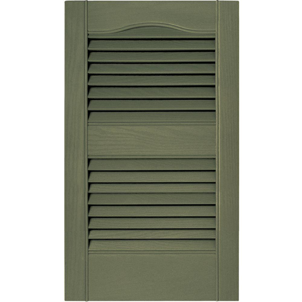 Builders Edge 15 in. x 25 in. Louvered Vinyl Exterior Shutters Pair in #282 Colonial Green