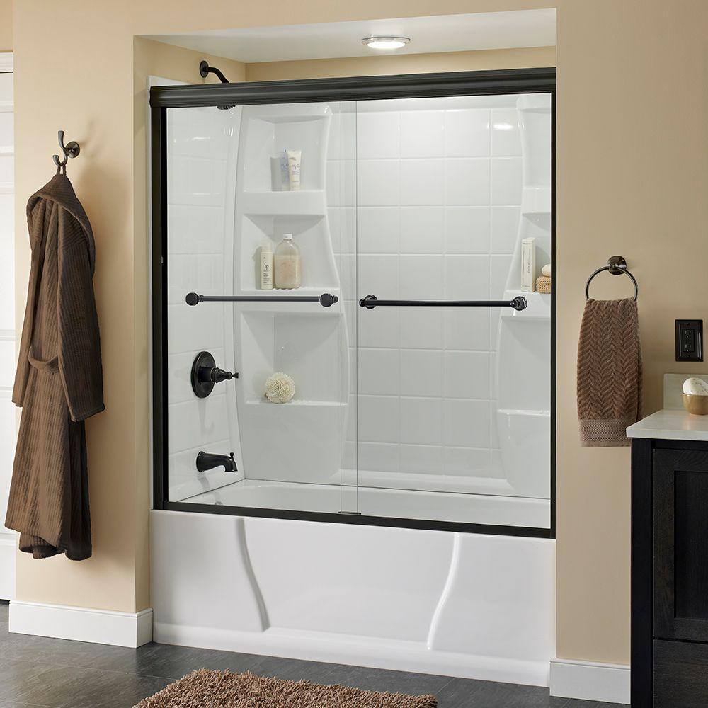 Delta Crestfield 60 In X 58 1 8 Semi Frameless Sliding Bathtub Door Bronze With Clear Gl 158735 The Home Depot