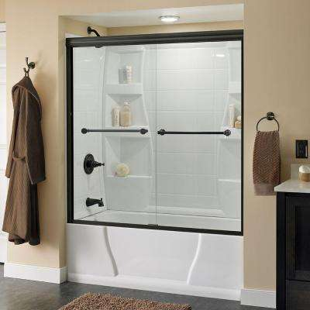 Crestfield 60 in. x 58-1/8 in. Semi-Frameless Sliding Bathtub Door in Bronze with Clear Glass