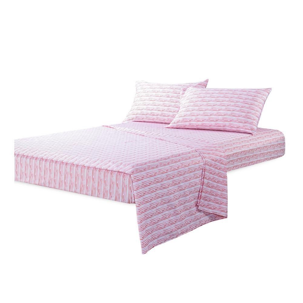 Sara B. Calypso Pink 4-Piece Cotton Sateen Queen Sheet Set SB44029MUL3