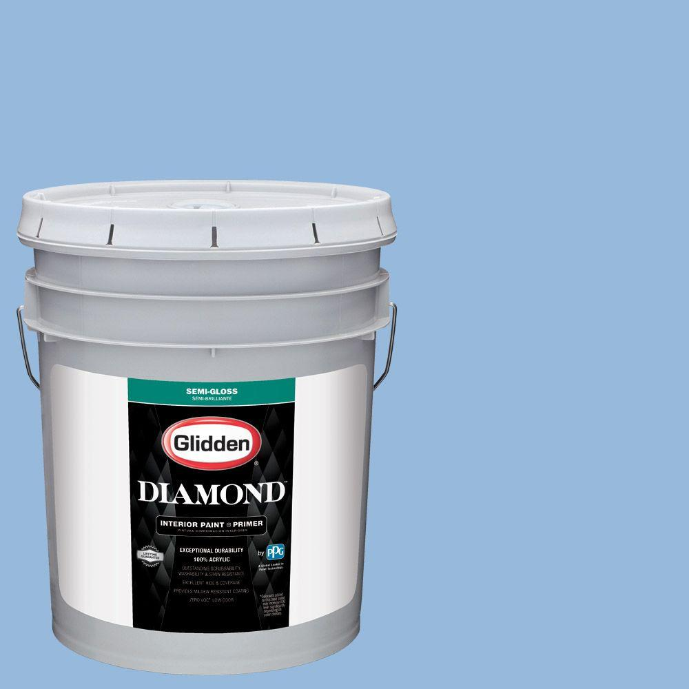 Glidden Diamond 5 gal. #HDGV15 French Country Blue Semi-Gloss Interior Paint with Primer, Blues