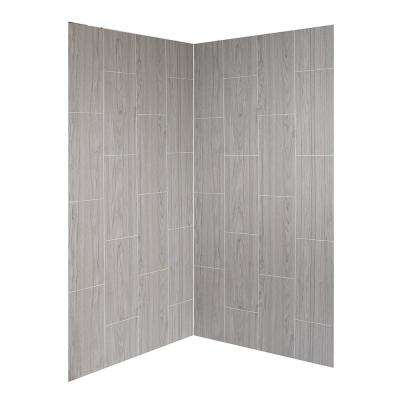 Jetcoat 42 in. x 42 in. x 78 in. 2-piece Easy-Up Adhesive Neo-Angle Shower Surround in Ash Grey Wood