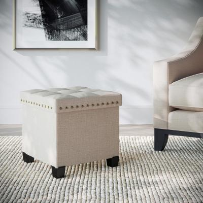 Payton Foldable Cube Storage Ottoman Footrest and Seat with Beige Fabric