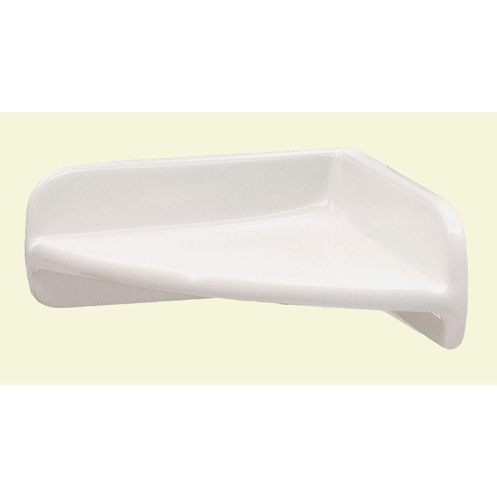 Lenape 7 in. x 7 in. Ceramic Corner Shelf in White-170401 - The Home ...