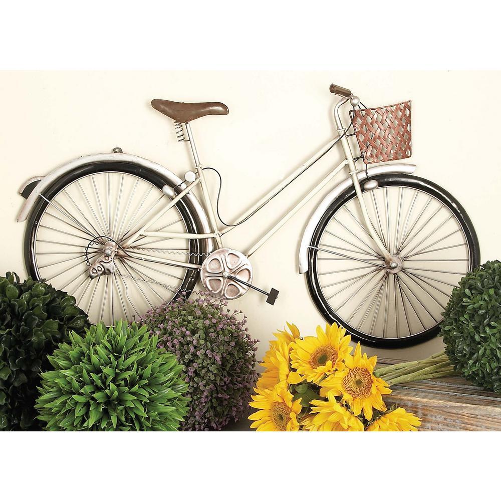 Litton Lane 35 in. x 20 in. Rustic White Iron Girl's Bicycle Wall Decor, Multi