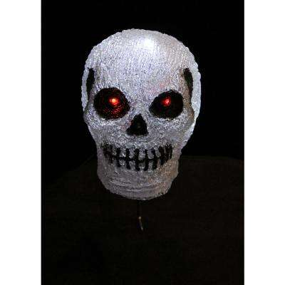 7.9 in. H 10-Light White LED Decorative Skull Light