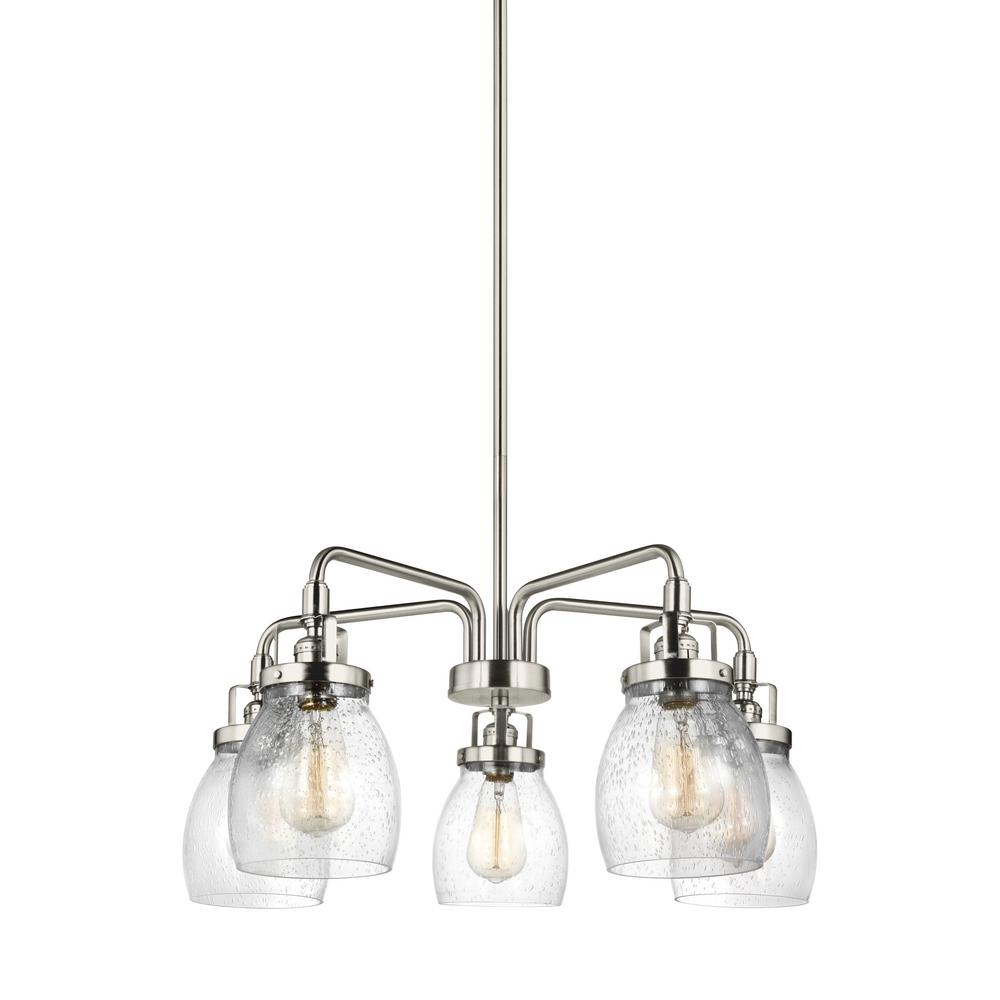 Belton 23.875 in. W 5-Light Brushed Nickel Single Tier Chandelier with