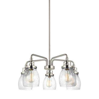 Belton 23.875 in. W 5-Light Brushed Nickel Single Tier Chandelier with Clear Seeded Glass
