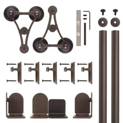 V-8 Oil Rubbed Bronze Rolling Door Hardware Kit for 3/4 in. to 1-1/2 in. Door