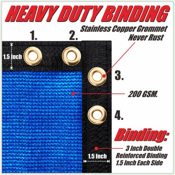 Colourtree 6 Ft X 68 Ft Blue Privacy Fence Screen Hdpe Mesh Netting With Reinforced Grommets For Garden Fence Custom Size 6x68fs 6 The Home Depot
