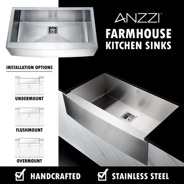 Anzzi Elysian Farmhouse Stainless Steel 36 In Single Bowl Kitchen Sink With Faucet In Oil Rubbed Bronze Kaz36201as 031o The Home Depot