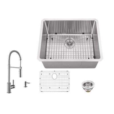 Undermount Stainless Steel 23 in. 16-Gauge Bar Sink in Brushed Stainless with Pull Out Kitchen Faucet and Soap Dispenser